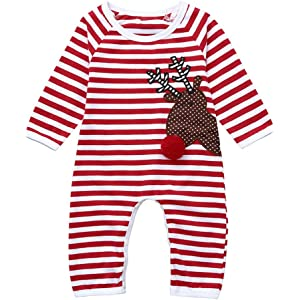 91d89534a BURFLY Christmas Newborn Infant Baby Girl Boy Striped Deer Pattern Romper  Jumpsuit Clothes Outfit Set