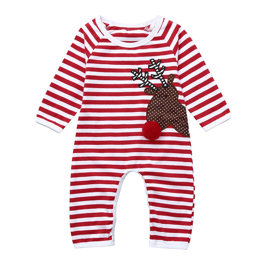 BURFLY Christmas Newborn Infant Baby Girl Boy Striped Deer Pattern Romper Jumpsuit Clothes Outfit Set
