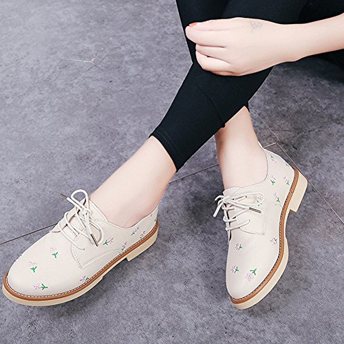 Shoes Oxfords Lace Shoes Wingtip Western Beige Printing JULY Toe Flats T Women's up Fashion Round tw7xSF