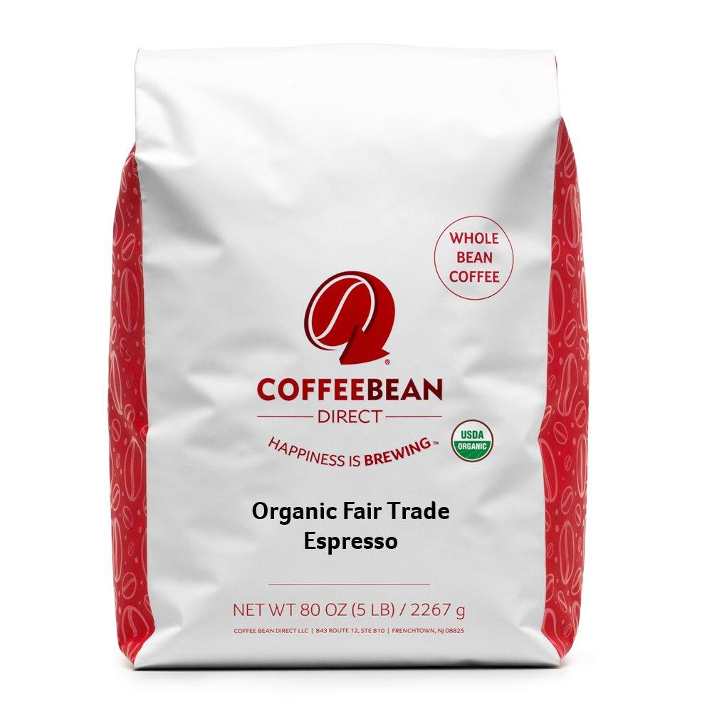 Organic Fair Trade Espresso, Whole Bean Coffee, 5-Pound Bag by Coffee Bean Direct