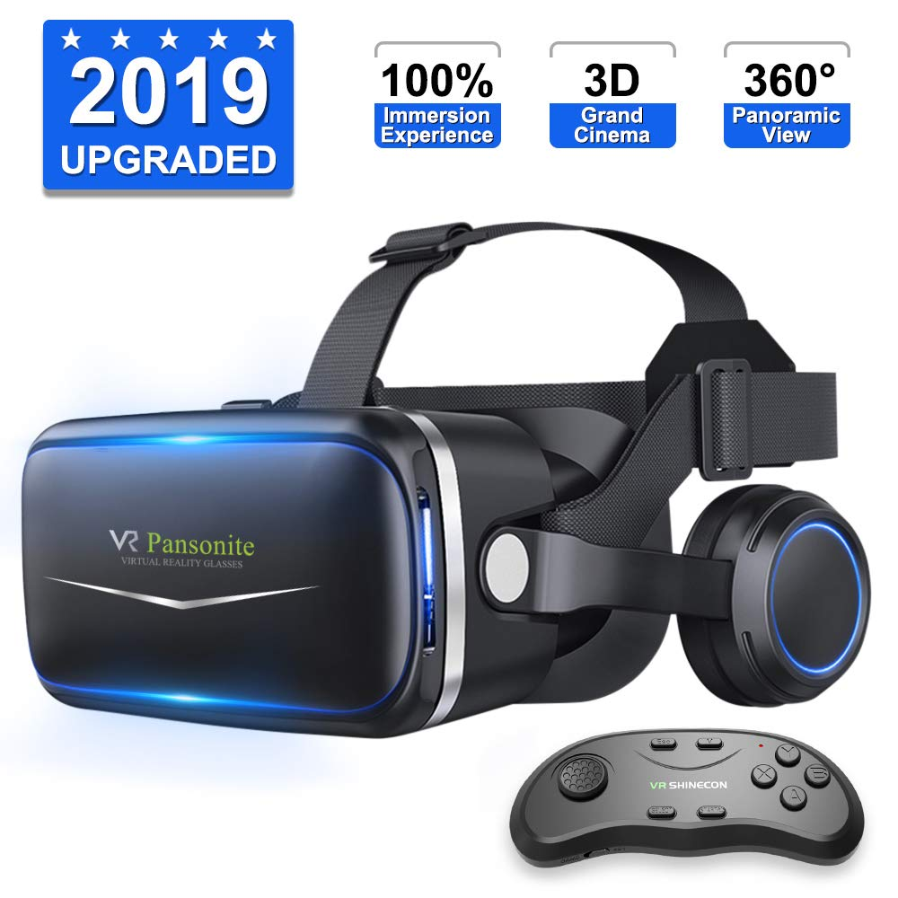 [ 2019 New Version ] Upgraded & Lightweight Virtual Reality Headset with Stereo Headphone,Eye Protected HD Vr Headset with Remote Controller for 3D Movies and Games by Pansonite