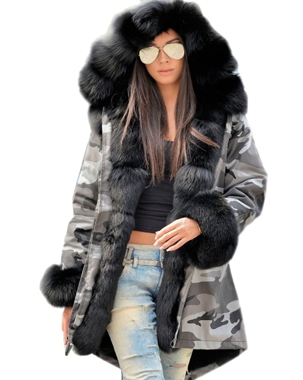 Roiii Women Winter Camouflage Thick Black Faux Fur Parka Long ...