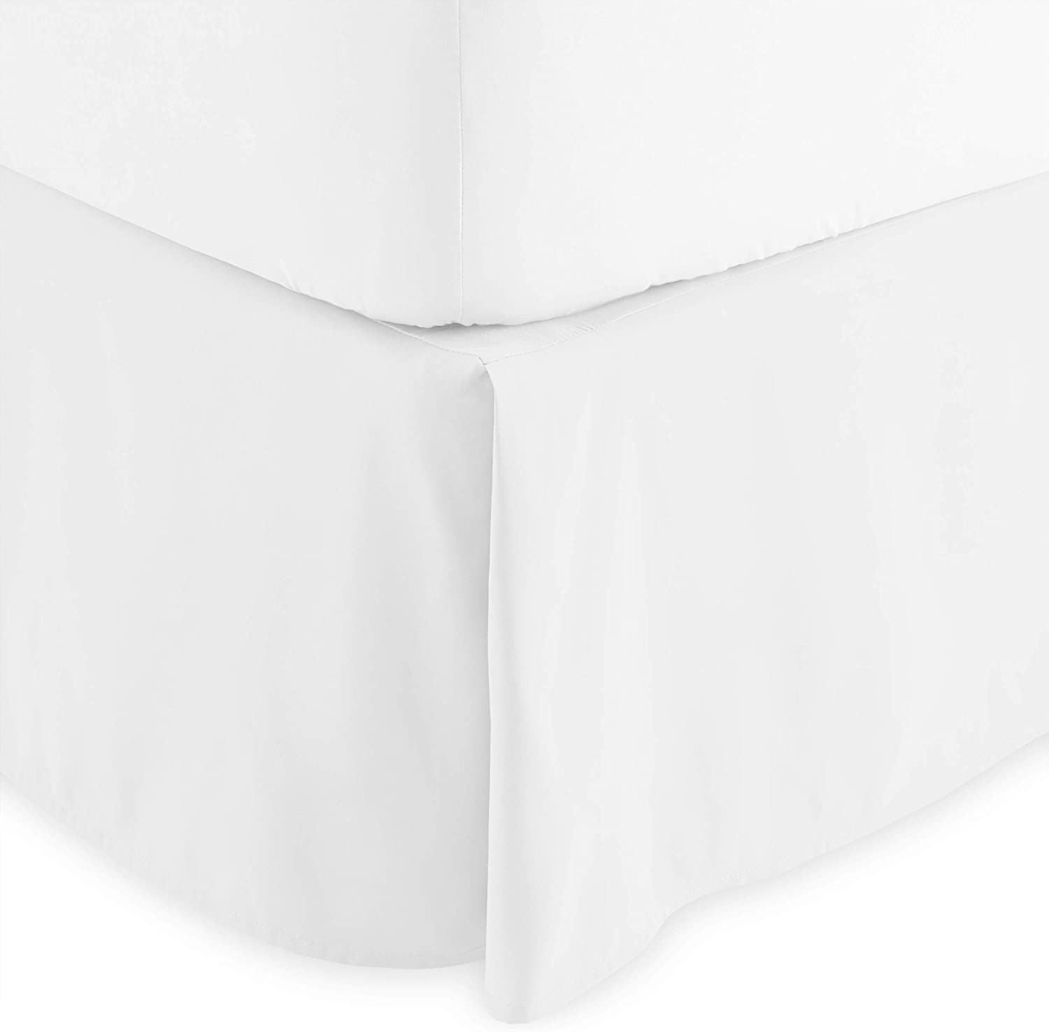 Bare Home Kids Bed Skirt Double Brushed Premium Microfiber, 15-Inch Tailored Drop Pleated Dust Ruffle, 1800 Ultra-Soft, Shrink and Fade Resistant (Twin, White)