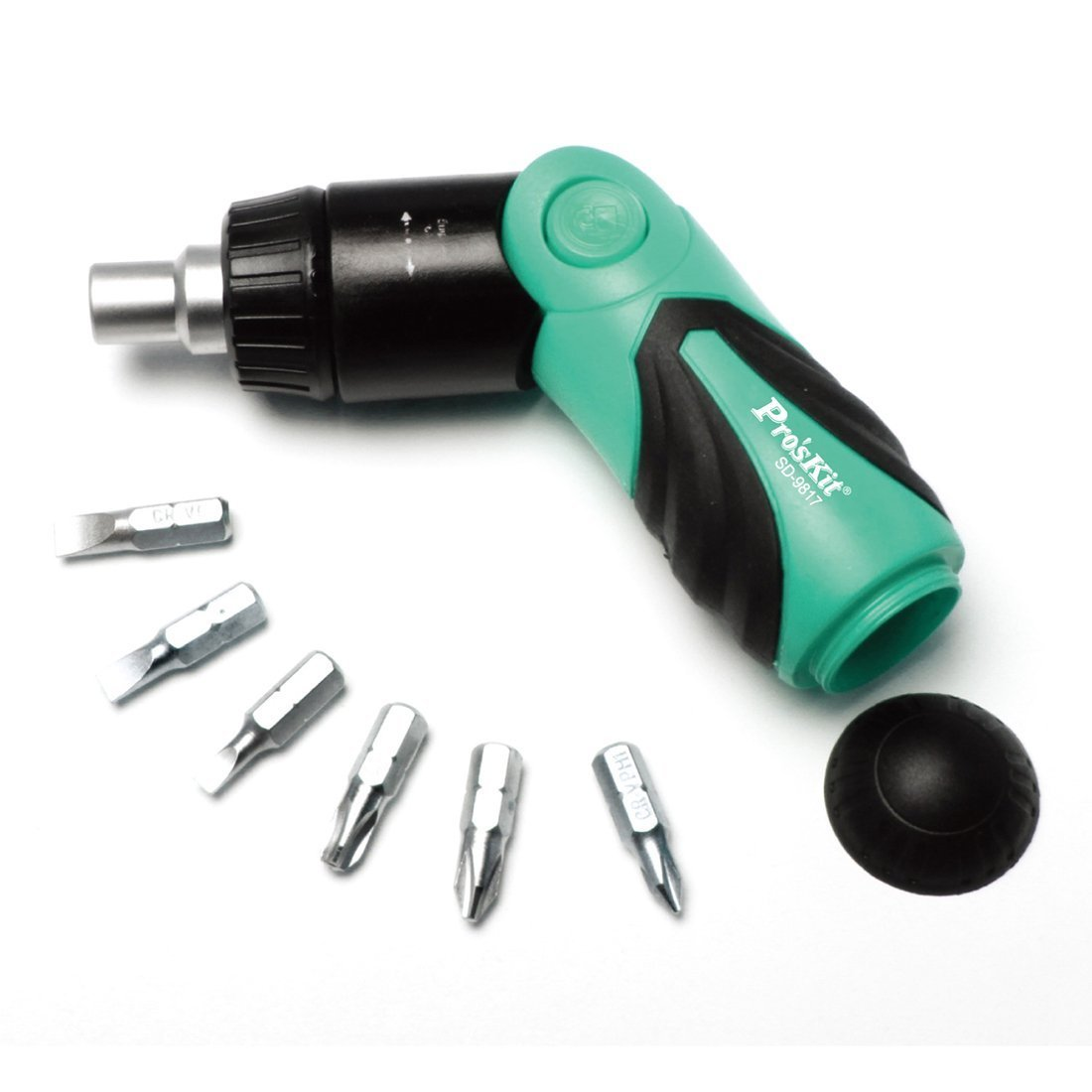 Pro'sKit Ratchet Screwdriver Set SD-9817 6 in 1 Mini Adjustable Magnetic Repair Tool Kit for Carpenter, Locksmith, Electrician, Auto Mechanic or Home DIY Repair - Including 6pcs Driver Bits
