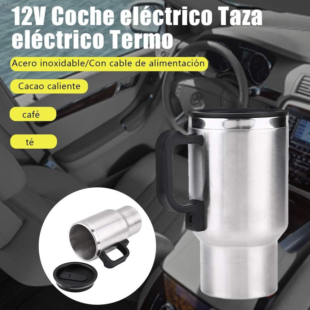 450 ml 12V Acero inoxidable Coche eléctrico Taza Viaje Calentador eléctrico Termo Enchufe Hervidores Hervidor Coche Taza de café Calentador con adaptador