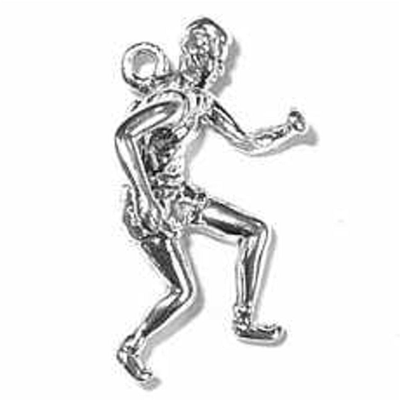Sterling Silver Girls .8mm Box Chain 3D Marathon Runner Pendant Necklace