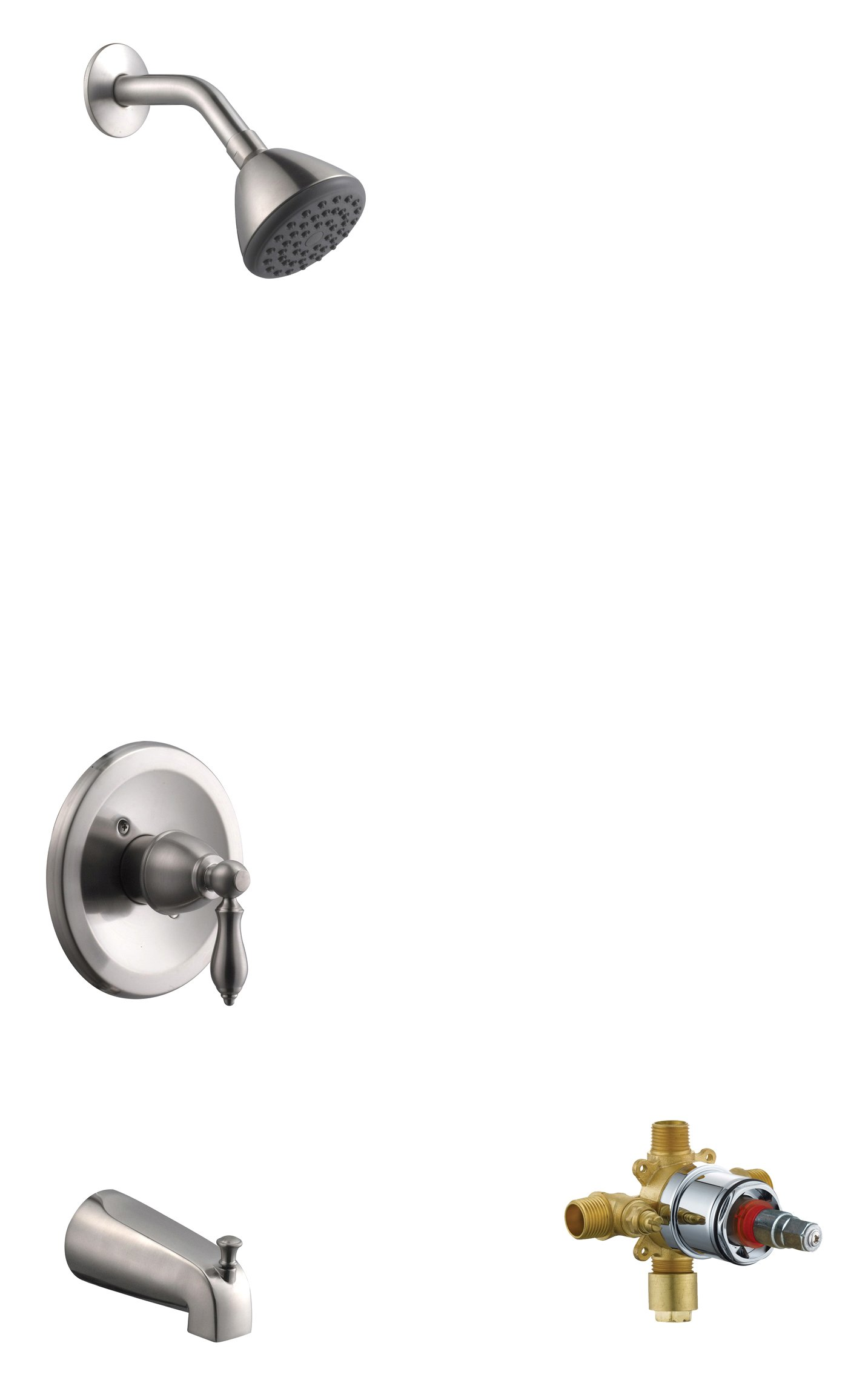 Design House 545632 Hathaway Tub & Shower Faucet, Valve Included, Satin Nickel
