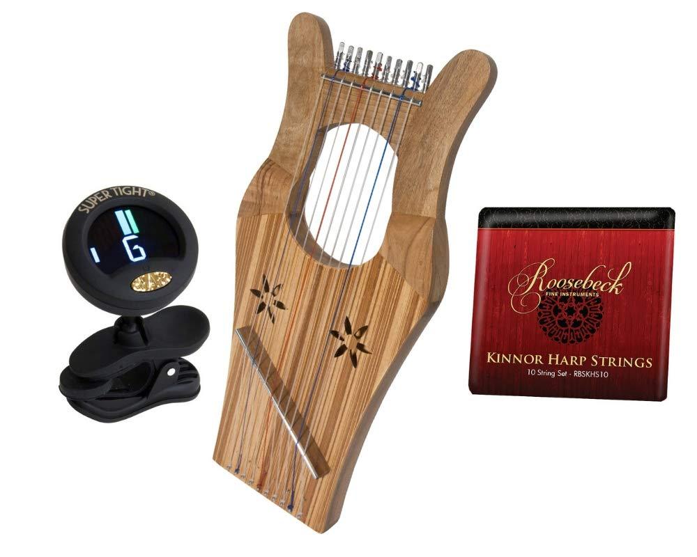 King David's Package Includes: Mini Kinnor King David's Harp Lyre - Light Walnut & Ash + Kinnor Harp Replacement String Set + Snark Clip-On Chromatic Tuner