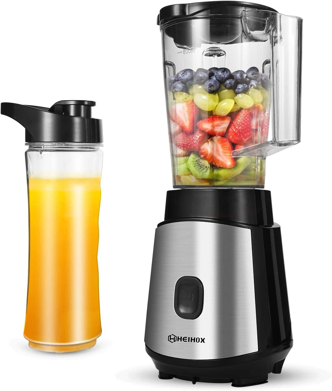 HEIHOX Personal Blender for Shakes, Smoothies, Food Prep and Frozen Blending, with BPA Free 32 Oz. Jar and 19 Oz. To-go Cups, Countertop Smoothies Blenders for Kitchen, Black