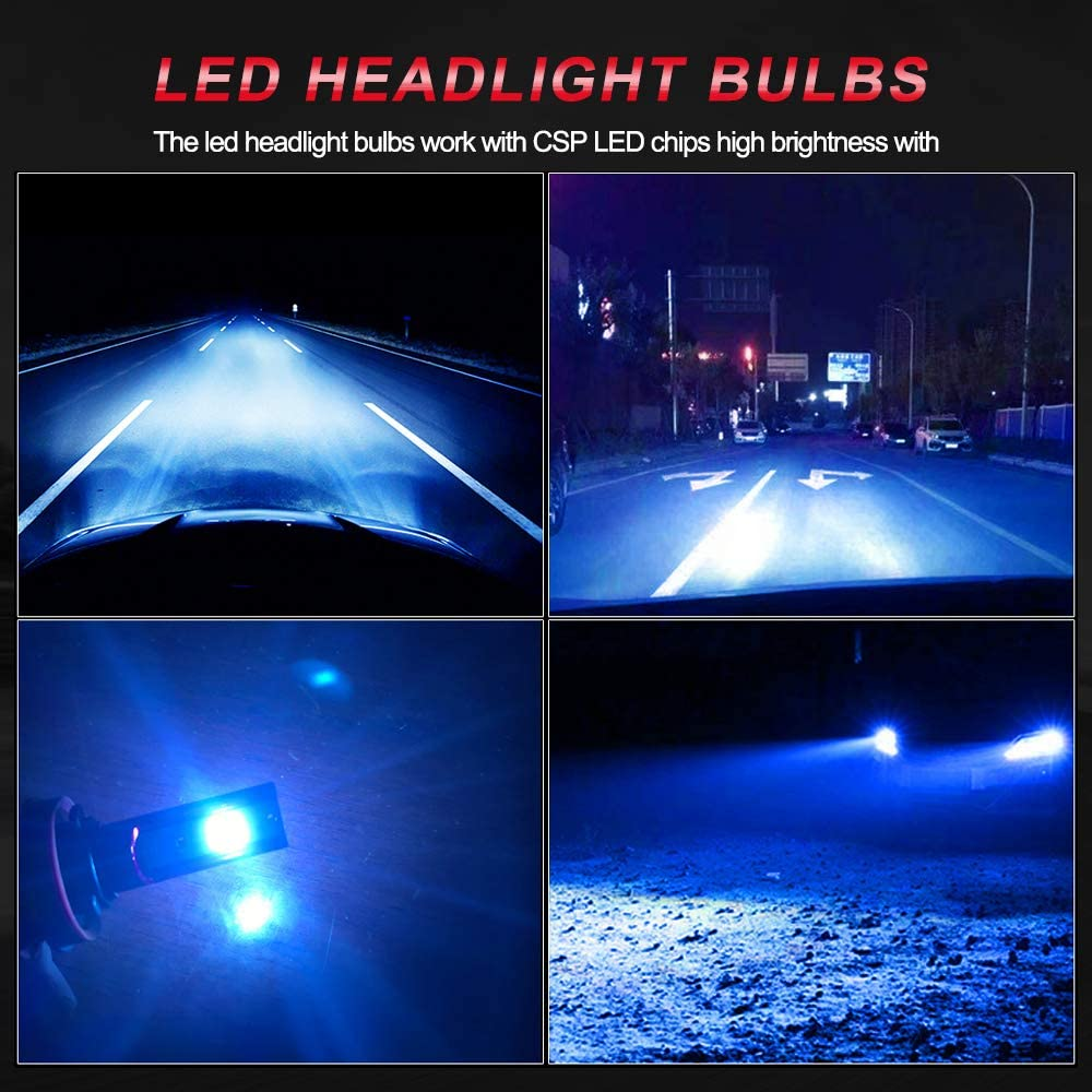 8000K 60W 10000Lumens Super Bright Blue LED Conversion Kit CSP Chips H8//H9 LED Fog Light Replacement StoneBanks H11 LED Headlight Bulbs Pack of 2