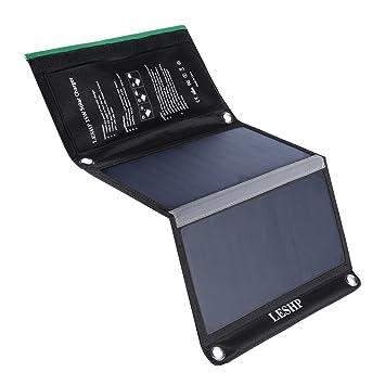 Cargador Panel Solar 15W con 2 puertos 5V 4A USB salida, placa solar doblado y portátil, de resistente agua, externa batería plegable para iPhone, ...
