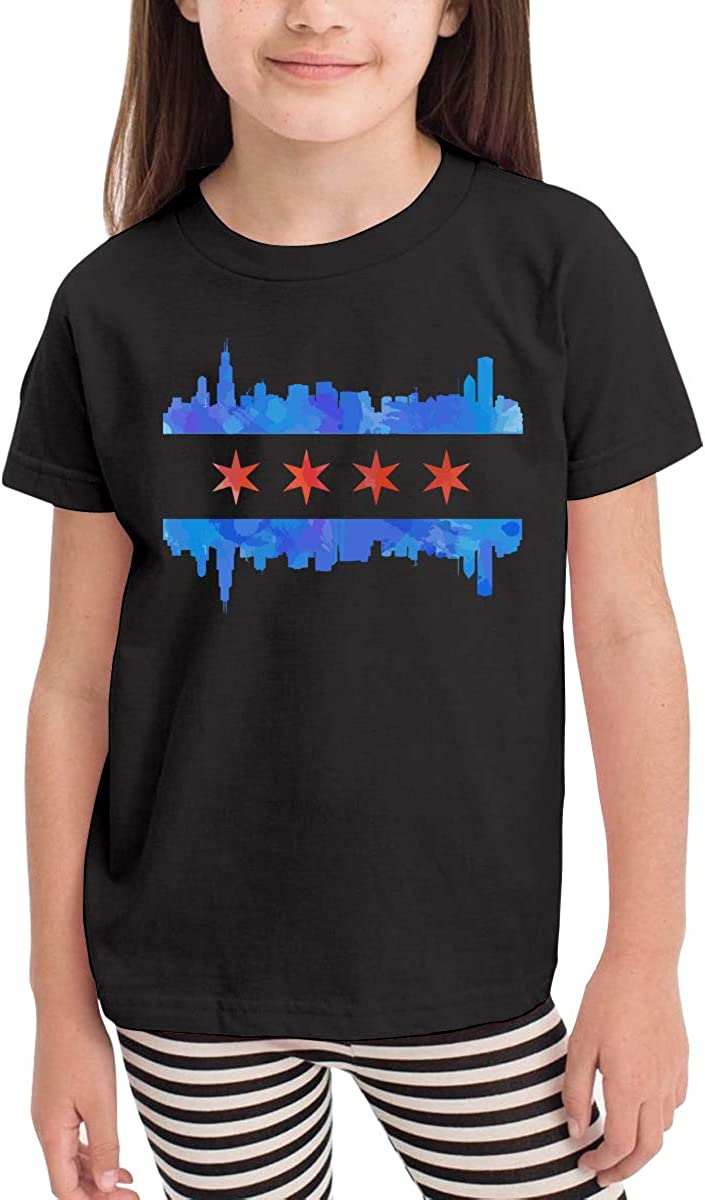 Kawaii Tunic Tops 2-6T Vy91Lk-8 Short-Sleeve Chicago Flag T-Shirts for Girls