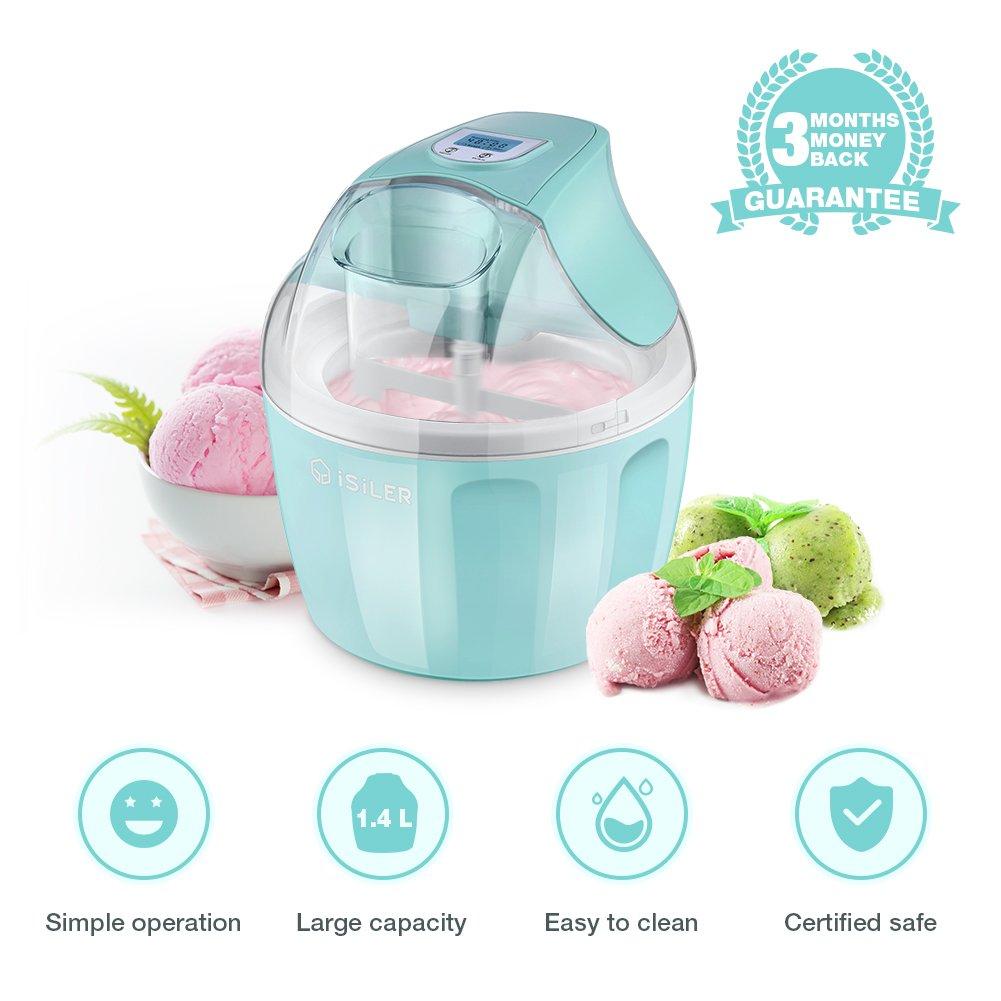 Ice Cream Maker, iSiLER 1.5 Quart Ice Cream Machine With LCD Timer, 3 Pints Gelato Ice Cream Maker for Kids, Automatic Frozen Yogurt, Soft-Serve Ice Cream, Custard, Sorbet, Dessert Maker for Home