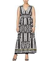 NY Collection Womens Plus Sleeveless V-Neck Dress