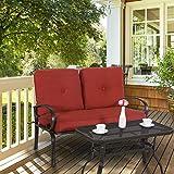 Yardwind Patio Loveseat 2 Pieces Sofa Seating Garden Patio Love Seat Bench Coffee Table Set Durable Wrought Iron Frame Thick Cushions Patio, Yard, Porch, Garden, Backyard, Balcony (Brick Red)