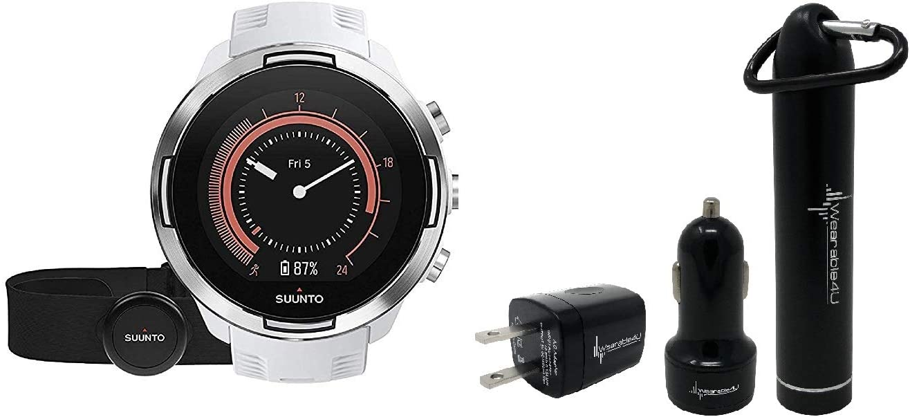 Suunto 9 Baro Durable Multisport GPS Watch with Barometric Altitude and Wearable4U Power Pack Bundle White with HR Belt