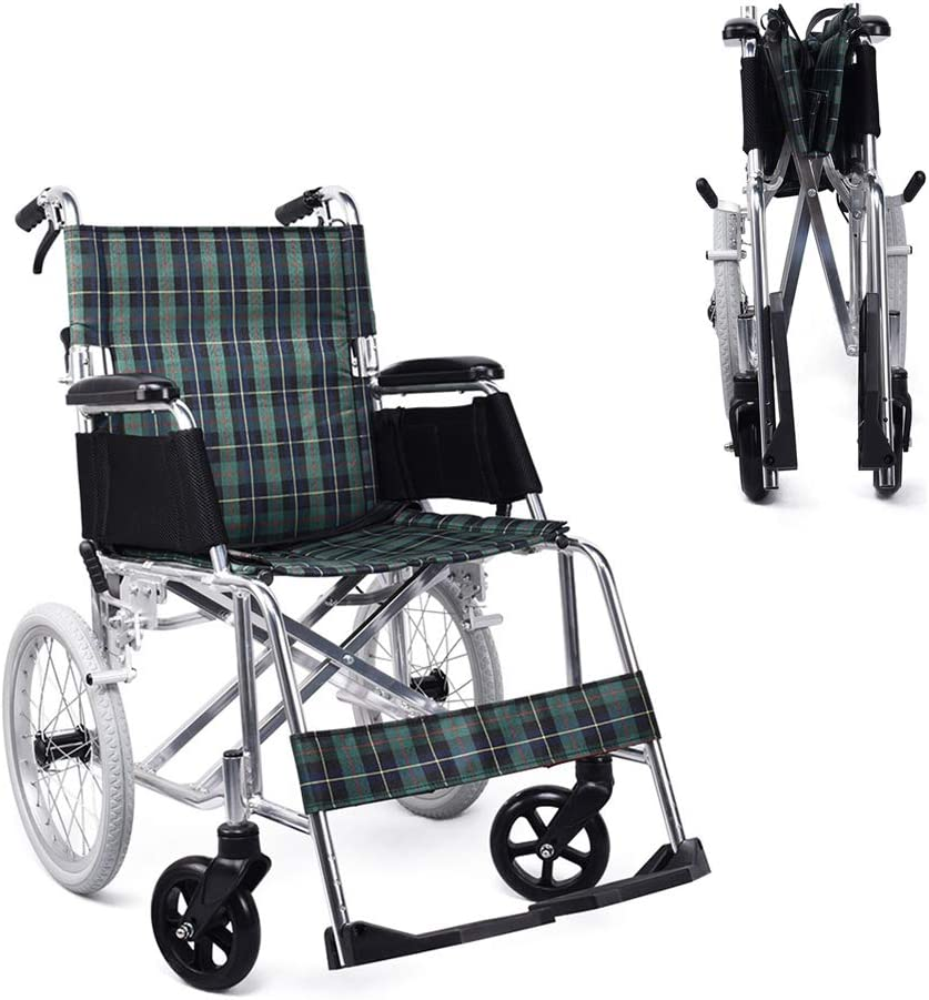 HMHD 220lbs / 100kg. Transporte médico Silla de Ruedas, Silla portátil Plegable con Pedal de Freno de Mano Llantas traseras de 16