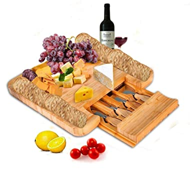 SMAGREHO Bamboo Cheese Board with Cutlery Set Wood Charcuterie Platter, Serving Tray with Slide-Out Drawer - 4 Piece Stainless Steel Knife Set - Perfect Bridal Shower Gift