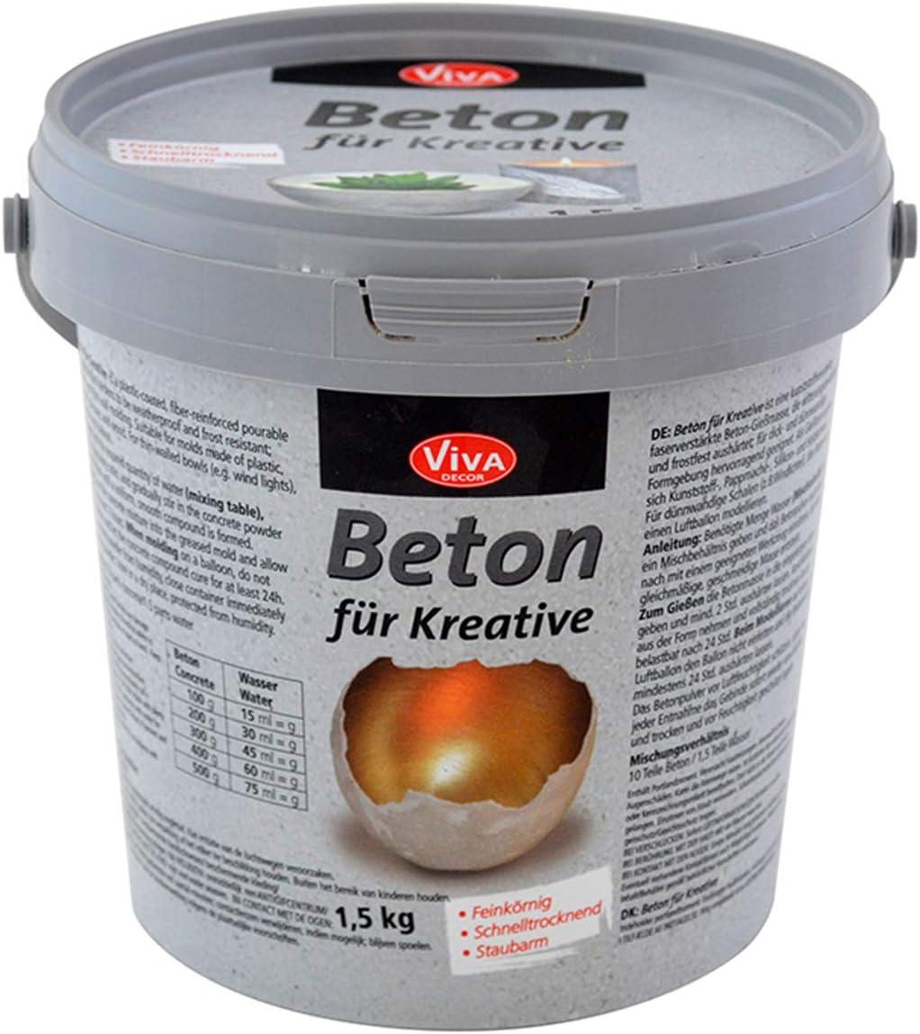Viva Decor® Gieß-Beton für Kreative (1,5kg) Beton Deko – kreativ Basteln mit dem Bastelbeton zum Gießen – oder als Abformmasse für Deko – Made in…