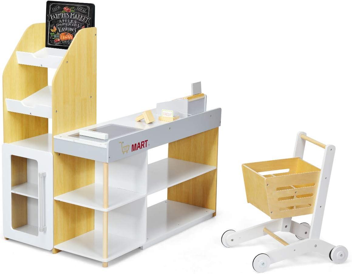 COSTWAY Juguete de Supermercado con Carrito de Compra Incluye Pizarra,Caja Registradora,Escáner,Lector de Tarjetas,Tarjeta de Crédito y Monedas Juguetes de rol para Niños
