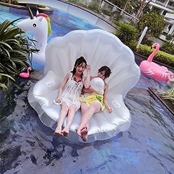 Smartlife - Colchoneta gigante hinchable de piscina para adultos, diseño de concha con perla: Amazon.es: Deportes y aire libre