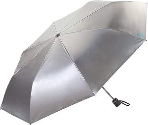Coolibar UPF 50+ Bund Compact Umbrella - Sun Protective (One Size- Silver/Green)