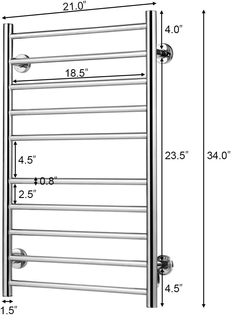 Tangkula 10-Bars Stainless Steel Towel Warmer