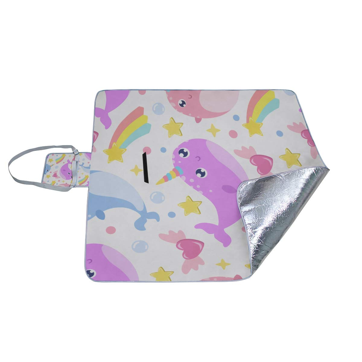 Amazon.com: Family Picnic Blanket Handy Tote Bay Narwhal ...