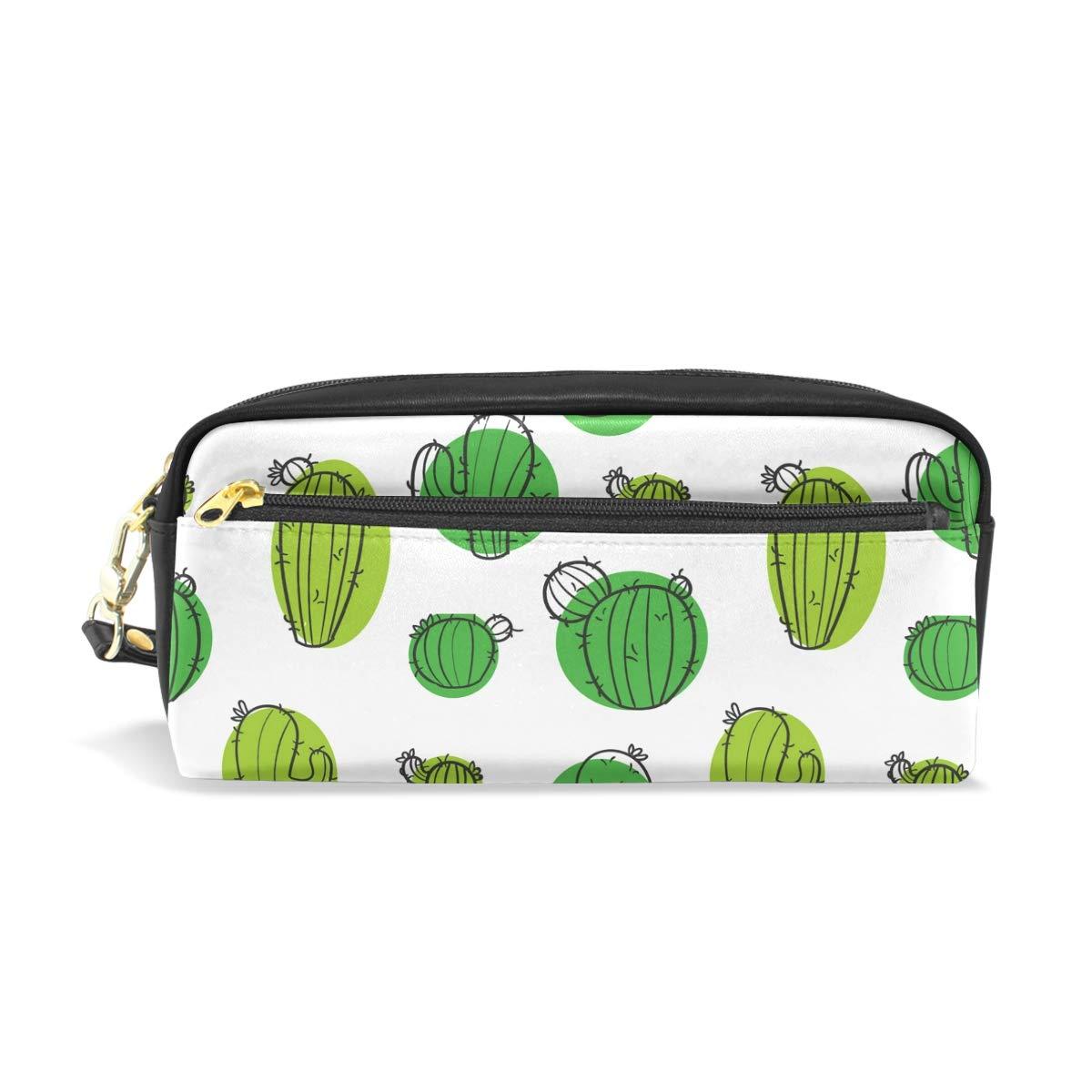 Estuche de cuero para lápices, con plantas verdes, cactus ...