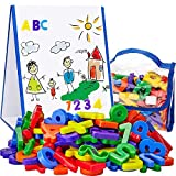Kid's Dry Erase Board and Magnet Set – 72 Piece Magnetic Letters and Stand-Up Easel Whiteboard for Writing, Drawing, Fun Learning – Educational Play Bundle for Home, Preschool – by EduKids