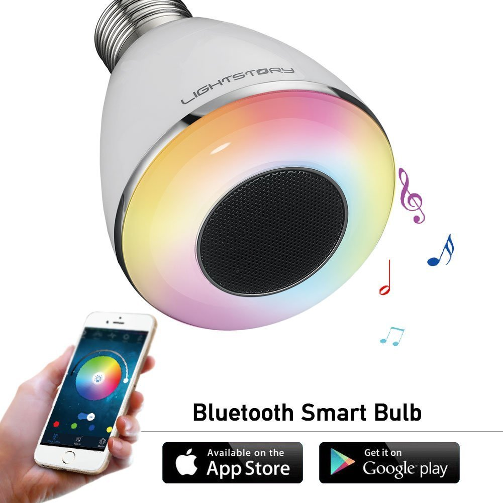 LIGHTSTORY Remote Control Bluetooth Smart LED Light Bulb Lamp with Speaker, Multi-Color Changing Light Bulb Speaker, Wireless Variable Optical LED Bulb (E26 Lamp Socket )
