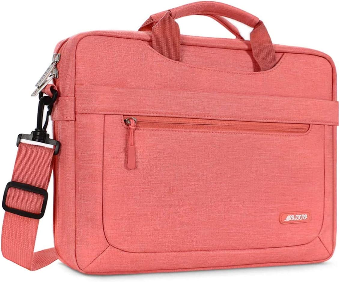 MOSISO Laptop Shoulder Bag Compatible with 13-13.3 inch MacBook Pro, MacBook Air, Notebook Computer, Polyester Messenger Carrying Briefcase Sleeve with Adjustable Depth at Bottom, Living Coral