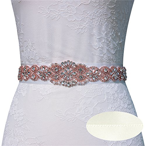Wedding Belts with Crystals in Sliver or Rose Gold Claws(7 colors Satin Choice) (Rose Gold, Ivory)