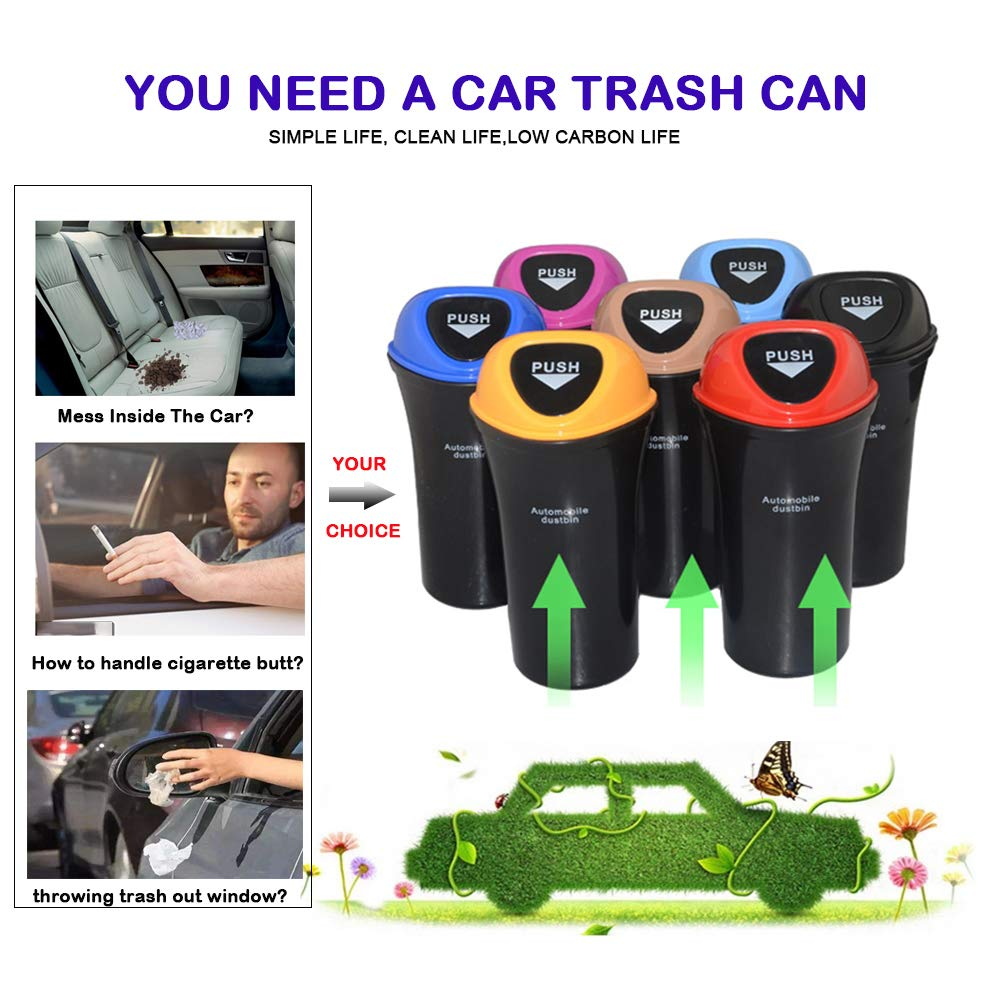 Fochutech Car Auto Garbage Trash Can Automotive Waste Storage Office Home Rubbish Bin for Vehicle Cup Holder Door with Hook Black
