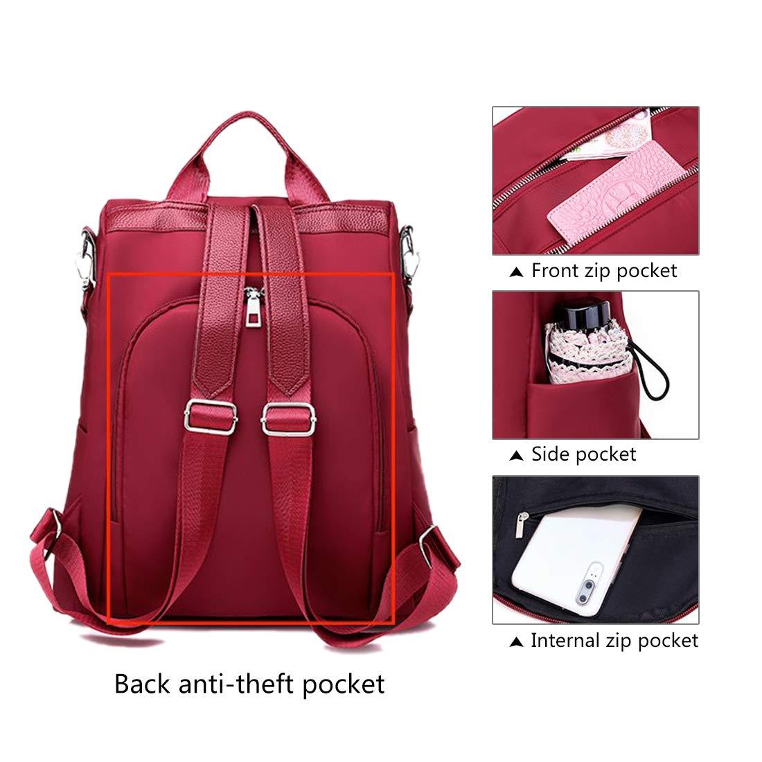 Women Backpack Purse Waterproof Nylon Anti-theft Rucksack Lightweight School Shoulder Bag Travel Daypack for Girls