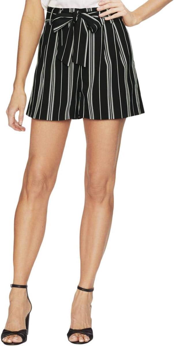 Vince Camuto Womens Black Stripe Paperbag Waist Belted Pants