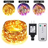 Ruichen Dual Color LED String Lights Color Changing Plug in, 99Ft 300LEDs 10 Modes Copper Wire Decorative Fairy Lights+Remote&Timer for Bedroom,Patio,Garden (99Ft, Multicolor & Warm white)