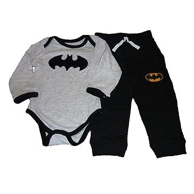 Kids With Character Baby Infant Boys Batman Logo Bodysuit Creeper & Jogger Pants Outfit Set