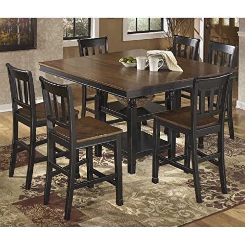 Ashley Owingsville 7 Piece Counter Height Dining Set in Brown