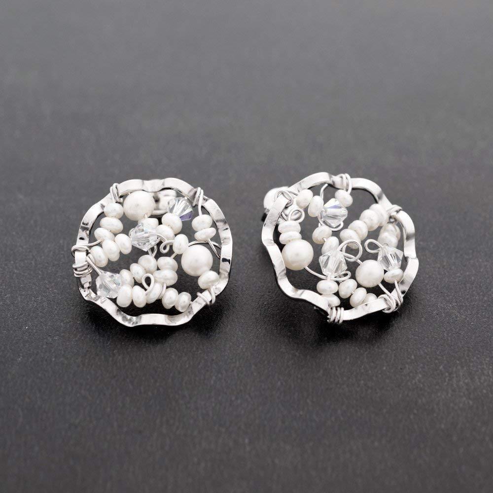 Pendientes largos redondos, tachuelas de plata, tachuelas redondas con cristales y perlas de swarovski, pendientes hipoalergénicos, pendientes de boda