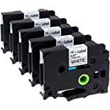 Label KINGDOM 5 Pack Compatible Brother P Touch Label Maker Tape (TZ 231 TZe 231) Black on White, 0.47 Inch (12mm) x 8m (26.2ft)