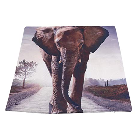 LIGHTBLUE - Funda de Almohada de Lino con diseño de Elefante ...
