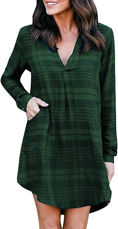Republe Las Mujeres de Manga Larga a Cuadros niña con Cuello en V Camisa Mini Vestido de Bolsillo Blusa de la Tapa: Amazon.es: Ropa y accesorios