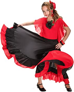 Falda infantil de flamenco, color negro y rojo: Amazon.es ...