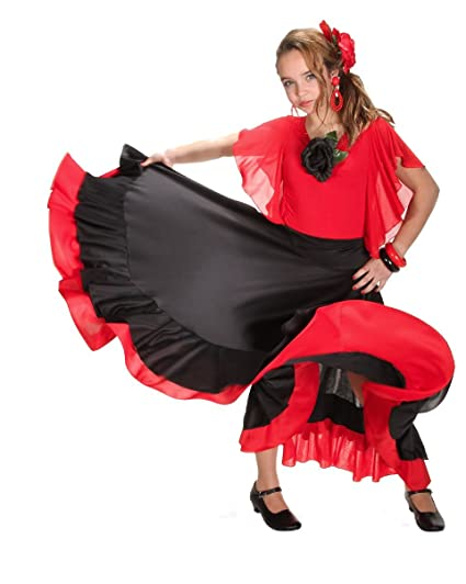 Falda infantil de flamenco, color negro y rojo: Amazon.es ...
