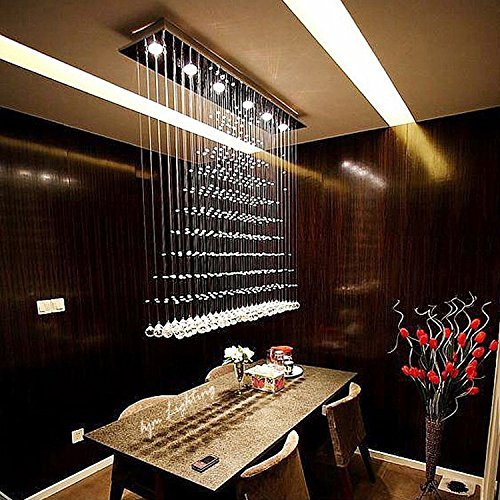7PM H47″ x W47″ x D10″ Modern Rain Drop Clear LED K9 Crystal Chandelier Dining Room Light Over Table Lighting Fixture For Sale
