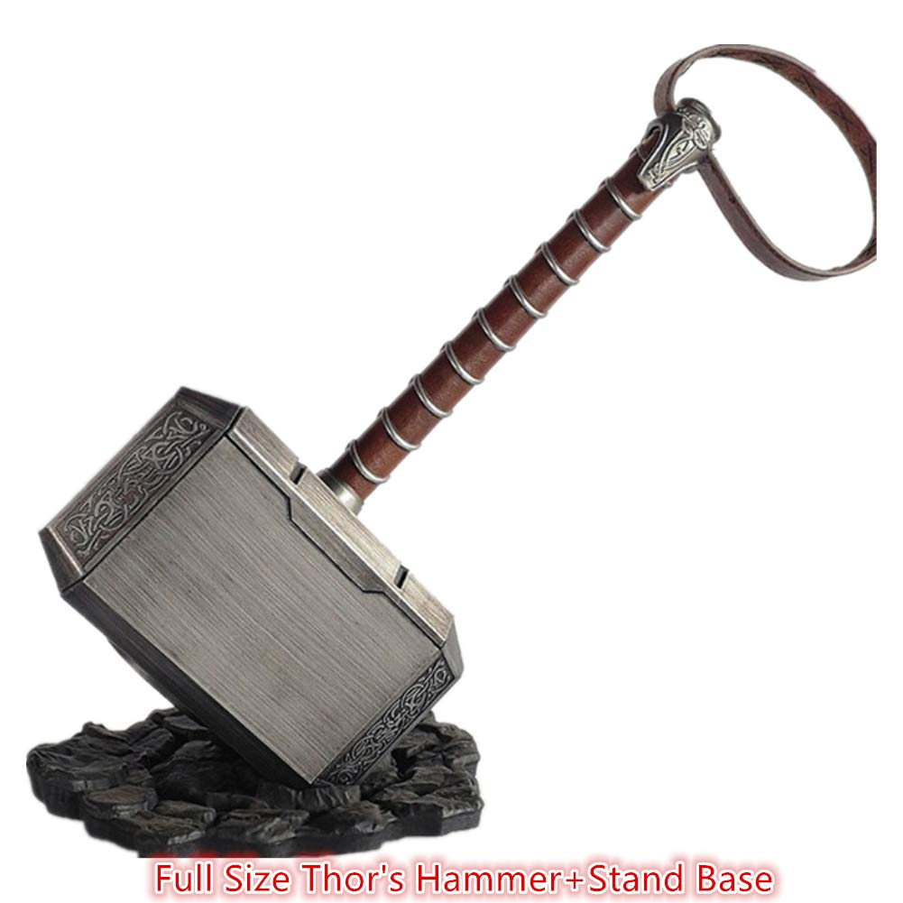 POMUTRE 45cm 1:1 Thor's Hammer Thunder Hammer+ Stand Base ABS Plastics Halloween Cosplay Collection Model Kids Birthdays Gifts by POMUTRE