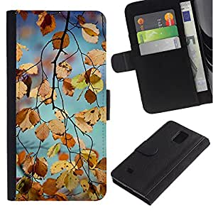 Billetera de Cuero Caso Titular de la tarjeta Carcasa Funda para Samsung Galaxy Note 4 SM-N910 / Yellow Autumn Fall Nature Tree / STRONG