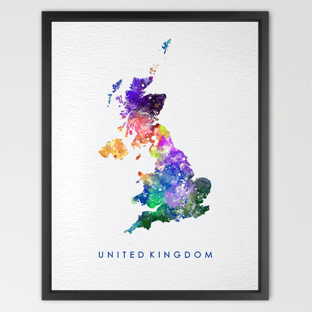 Dignovel Studios 11X14 United Kingdom Map UK Map Watercolor Art Print Wall Art Hanging Home Decor Nursery decor Kids Art Fine Art Print Motivational art N220