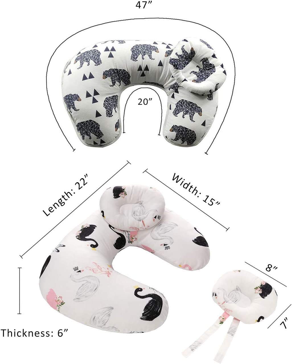 Breastfeeding Pillow Adjustable Nursing Pillow with a Detachable Headrest for Baby 45/°Angle Support for Babys Head